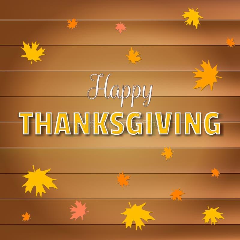 De gelukkige kaart van de thanksgiving daygroet, van letters voorziende tekst met dalende gele esdoornbladeren op houten plankena stock illustratie