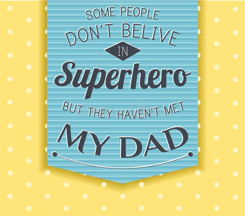De gelukkige kaart van de Vaderdag superhero, held vector illustratie