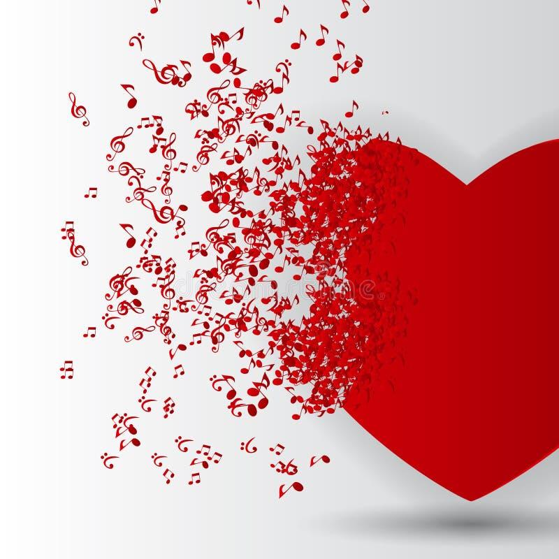 De gelukkige Kaart van de Valentijnskaartendag met Hart, Muzieknota's. stock foto