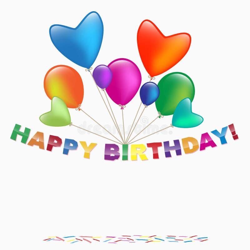 Download De Gelukkige Kaart Van De Verjaardag Vector Illustratie - Illustratie bestaande uit pret, ballons: 29502984