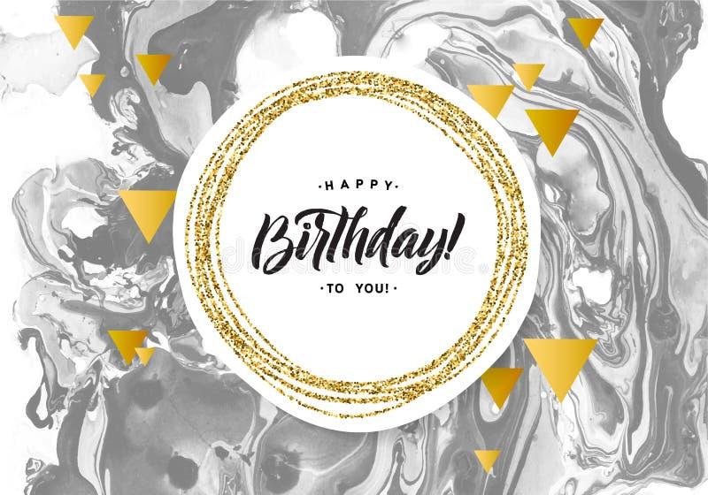 De gelukkige Kaart van de Verjaardags Zwarte Marmeren Textuur Malplaatje van de flikkerings het Gouden Banner op Witte Achtergron stock illustratie