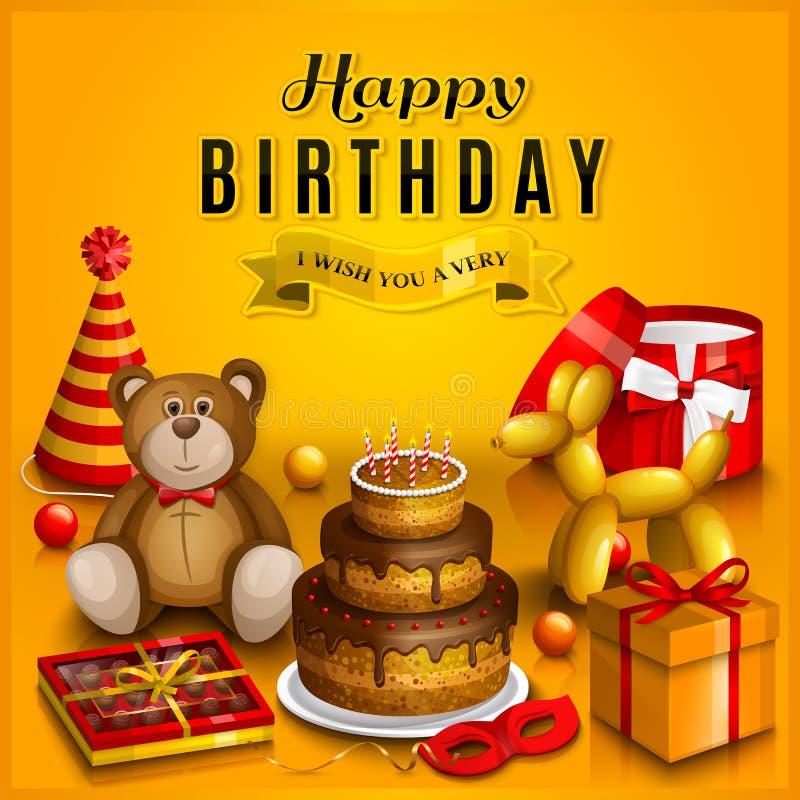 De gelukkige kaart van de verjaardagsgroet Stapel van kleurrijke verpakte giftdozen Veel stelt en speelgoed voor Partijhoeden, te royalty-vrije illustratie