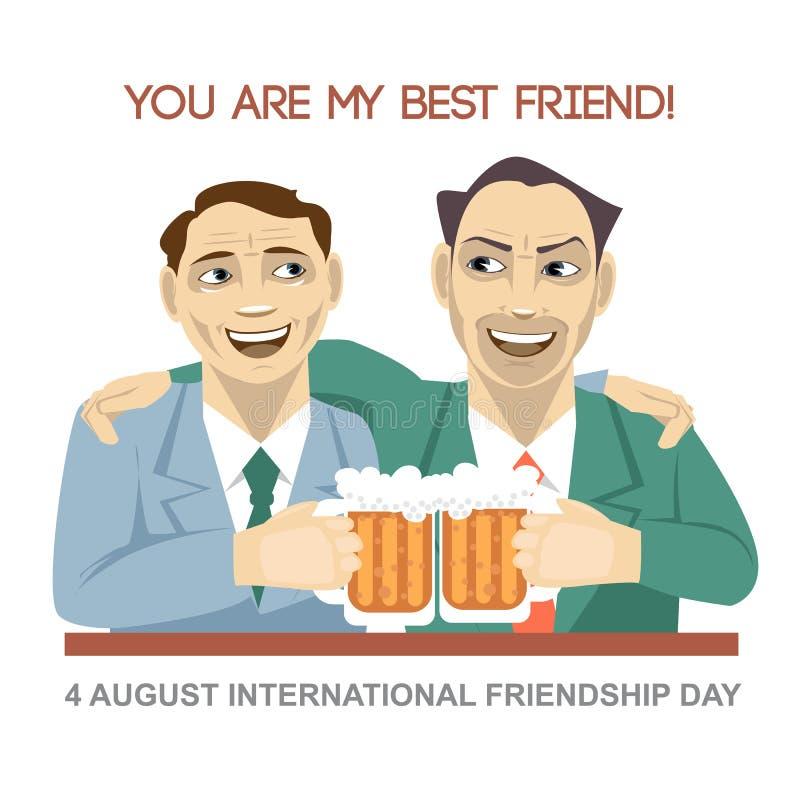 De gelukkige kaart van de Vriendschapsdag 4 August Best-vriendenmens het drinken dragen en het schudden de glazen vector illustratie