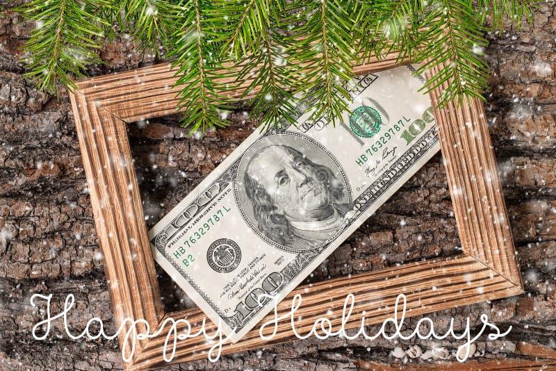 De gelukkige Kaart van de Groet van de Vakantie Dollars op houten fotokader royalty-vrije stock foto