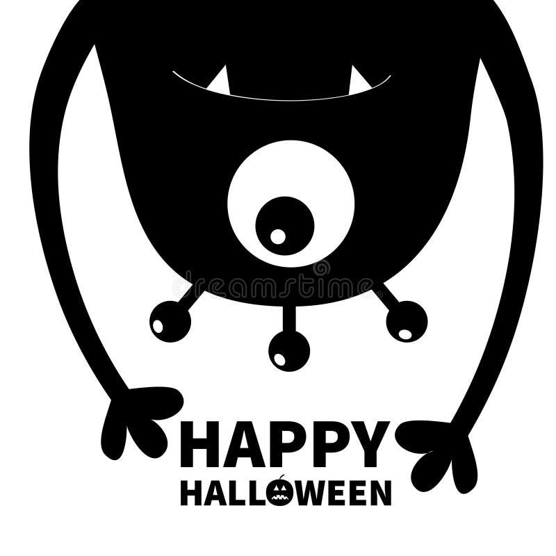 De gelukkige kaart van Halloween Monster hoofdsilhouet Één oog, tanden, hoektand, handen Hangende bovenkant - neer Zwart Grappig  vector illustratie