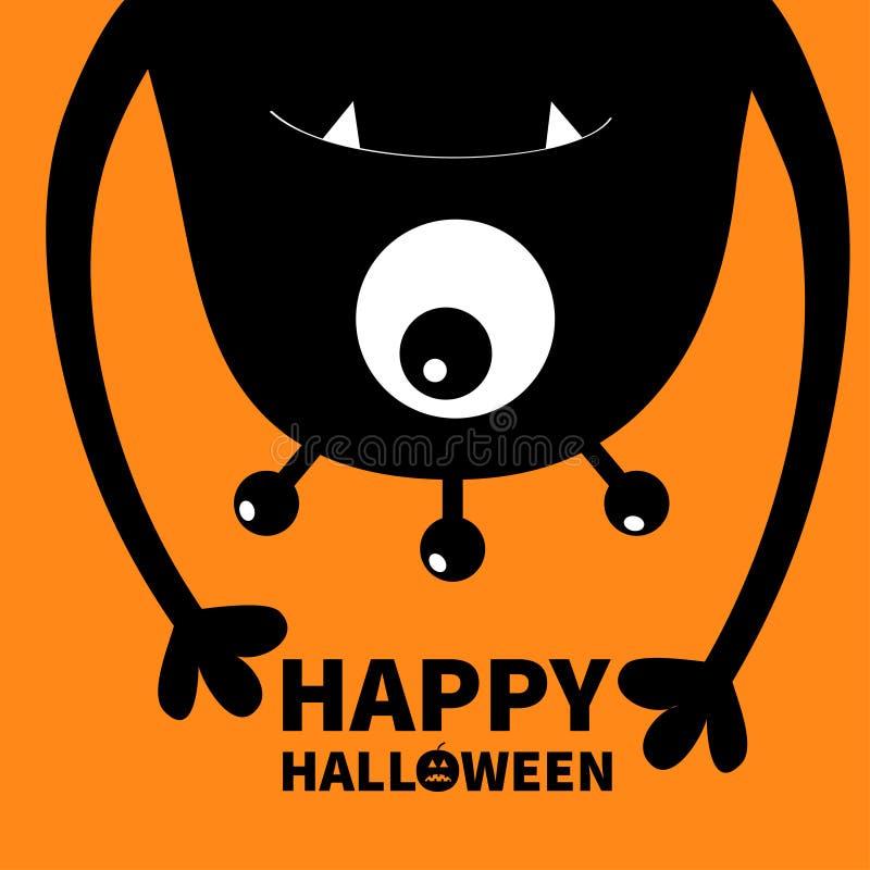 De gelukkige kaart van Halloween Monster hoofdsilhouet Één oog, tanden, hoektand, handen Hangende bovenkant - neer Zwart Grappig  stock illustratie