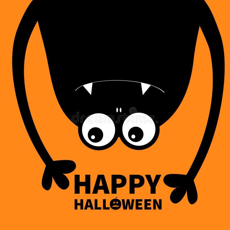 De gelukkige kaart van Halloween Monster hoofdsilhouet Twee ogen, tanden, hoektand, handen Hangende bovenkant - neer Zwart Grappi stock illustratie