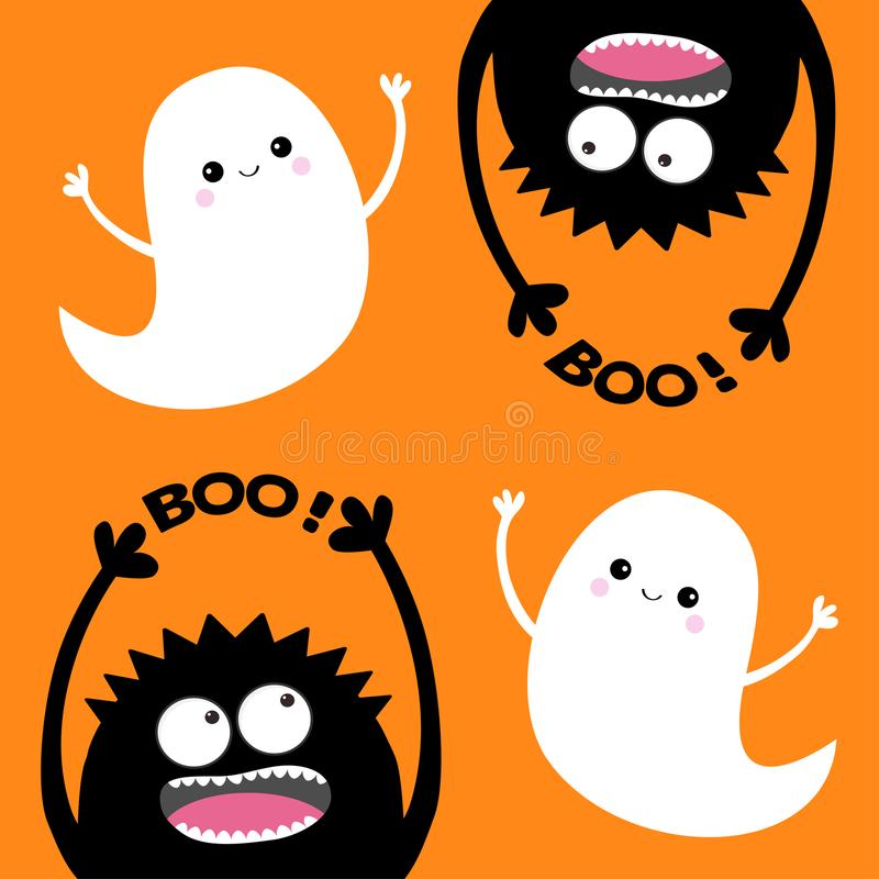 De gelukkige kaart van Halloween Twee vliegende spookgeest Reeks van het monster de hoofdsilhouet Boo Eyes, handen Hangende boven stock illustratie