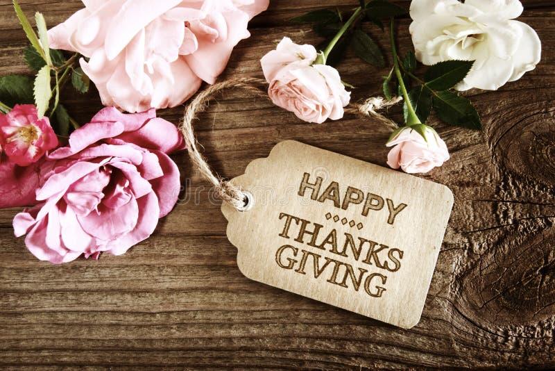 De gelukkige kaart van het Dankzeggingsbericht met kleine rozen stock afbeelding