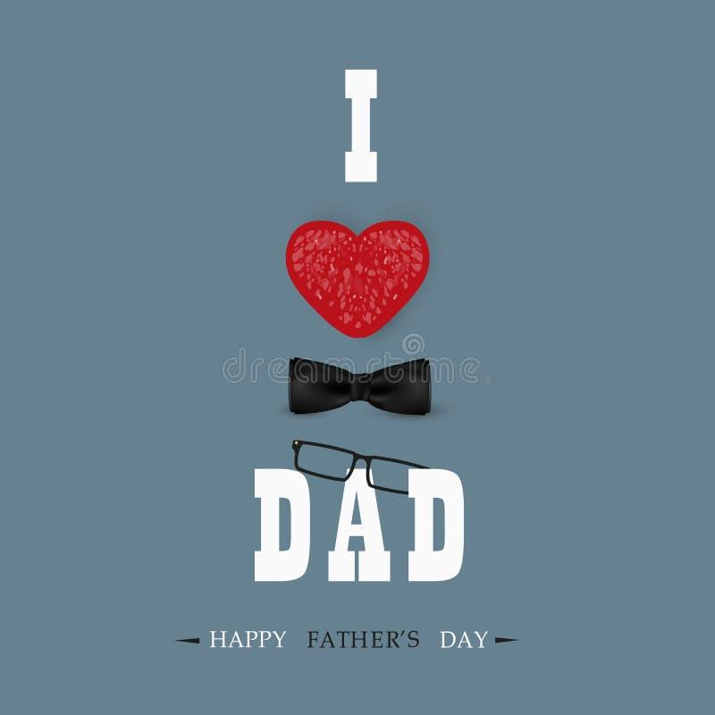 De gelukkige Kaart van de het Malplaatjegroet van de Vadersdag Ik houd van u Papa De Banner van de vadersdag, vlieger, uitnodigin royalty-vrije illustratie