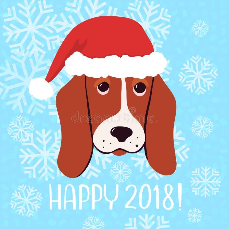 De gelukkige kaart van de het Nieuwjaargroet van 2018 Vector met hond in Kerstmishoed stock illustratie