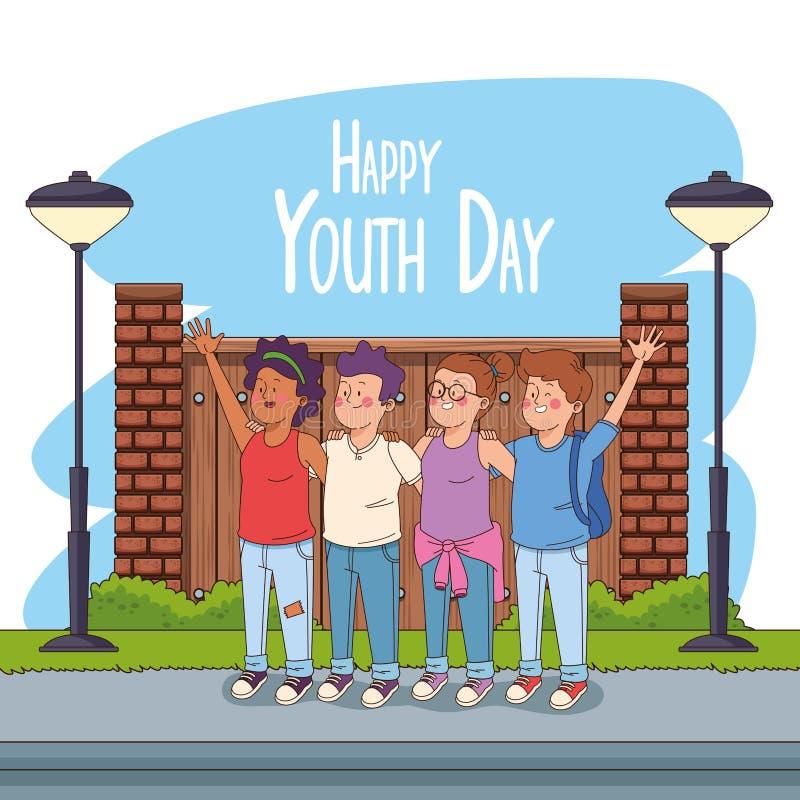 De gelukkige kaart van de de jeugddag met tienersbeeldverhalen vector illustratie