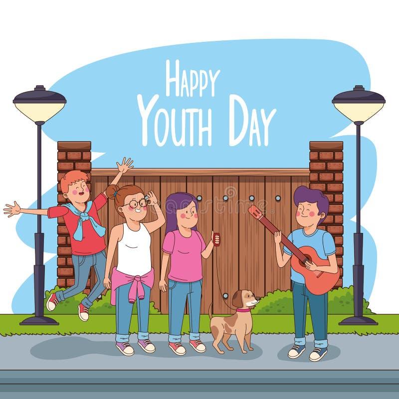 De gelukkige kaart van de de jeugddag met tienersbeeldverhalen royalty-vrije illustratie