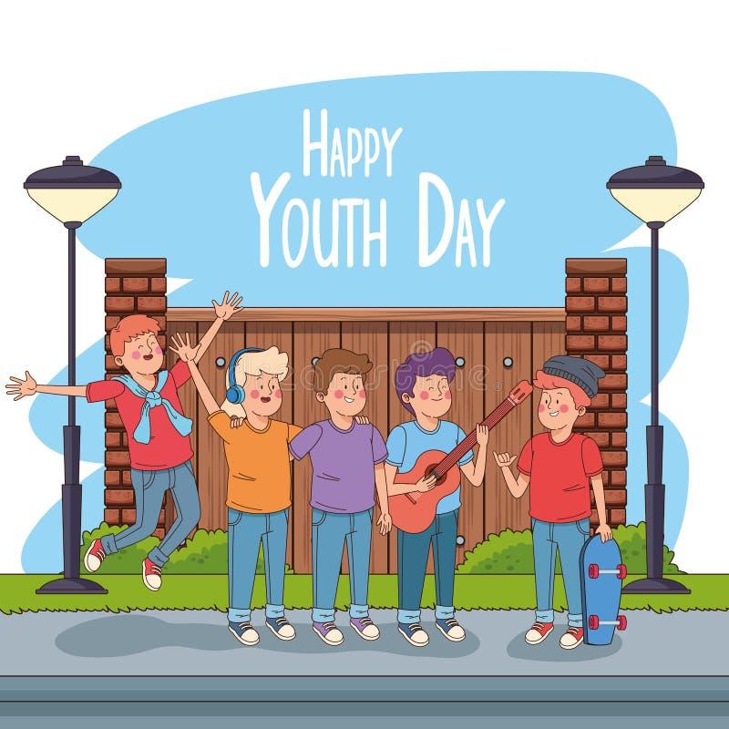 De gelukkige kaart van de de jeugddag met tienersbeeldverhalen stock illustratie