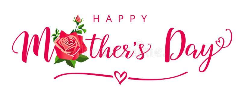 De gelukkige kaart van de de kalligrafie elegante groet van de Moedersdag met een mooie roze bloem stock illustratie