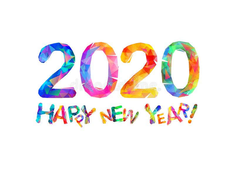 De gelukkige kaart van de Nieuwjaar 2020 gelukwens royalty-vrije illustratie