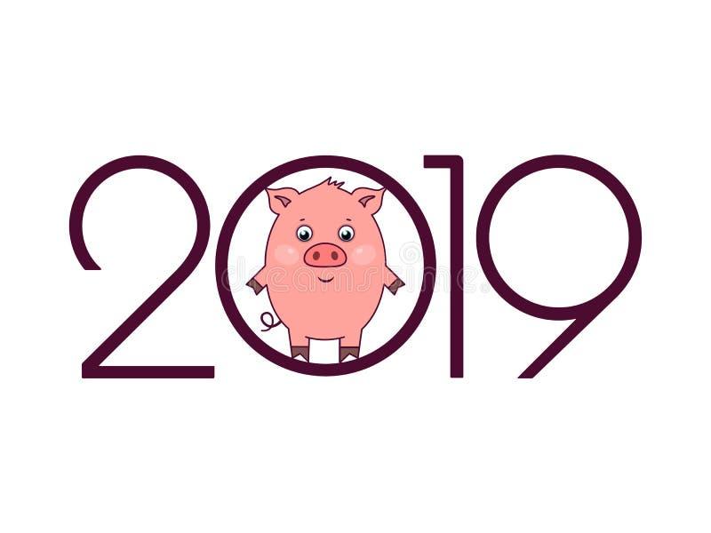 2019 de Gelukkige kaart van de Nieuwjaargroet royalty-vrije illustratie