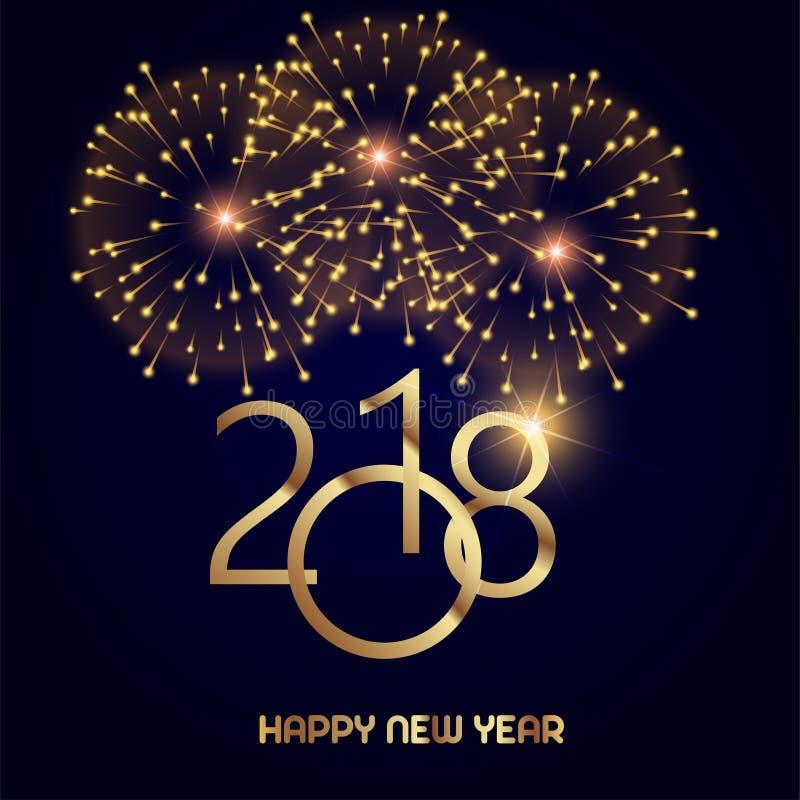 De gelukkige kaart van de Nieuwjaargroet met glanzende gouden teksten en vuurwerk op zwarte achtergrond 2018 Vector stock illustratie