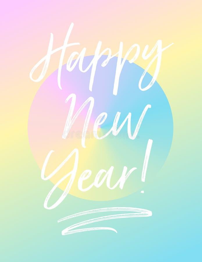De gelukkige kaart van de Nieuwjaargroet met gradiënten en pastelkleurkleuren royalty-vrije illustratie