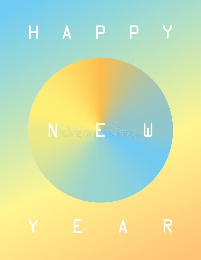 De gelukkige kaart van de Nieuwjaargroet met gradiënten en pastelkleurkleuren stock illustratie