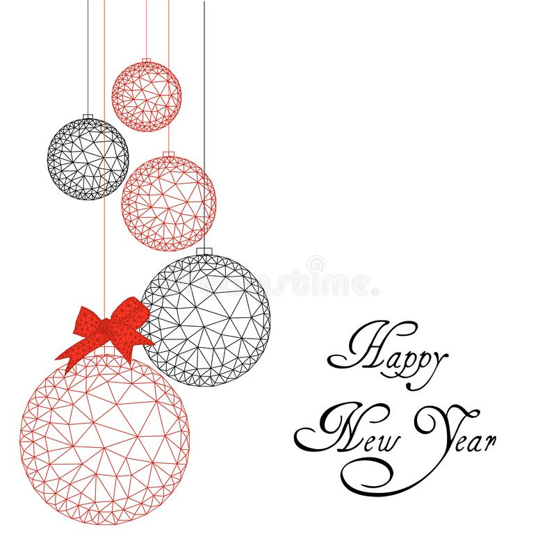 De gelukkige kaart van de Nieuwjaargroet met lage polykerstmisballen, lintboog en tekst in rood en zwart royalty-vrije illustratie