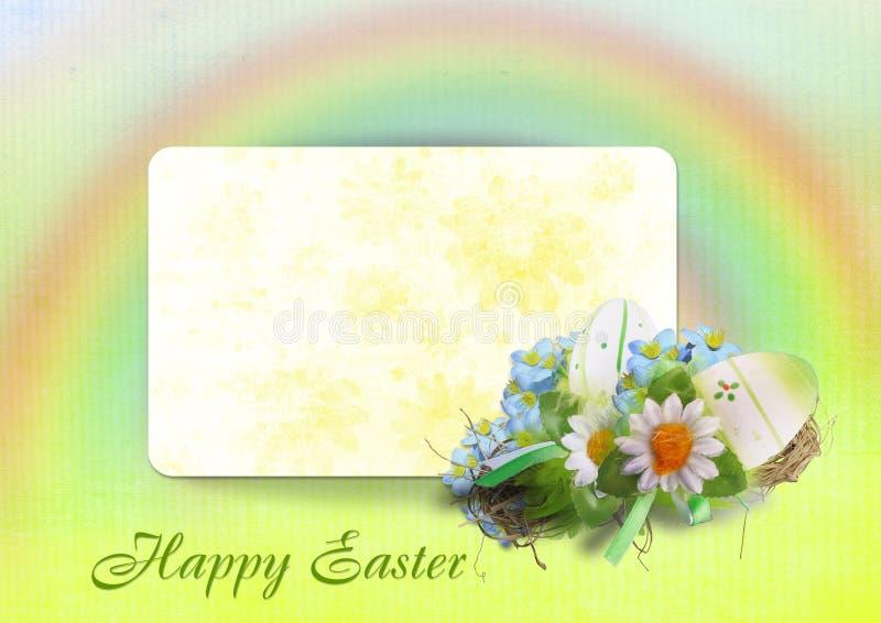 De gelukkige kaart van Pasen met eieren stock illustratie