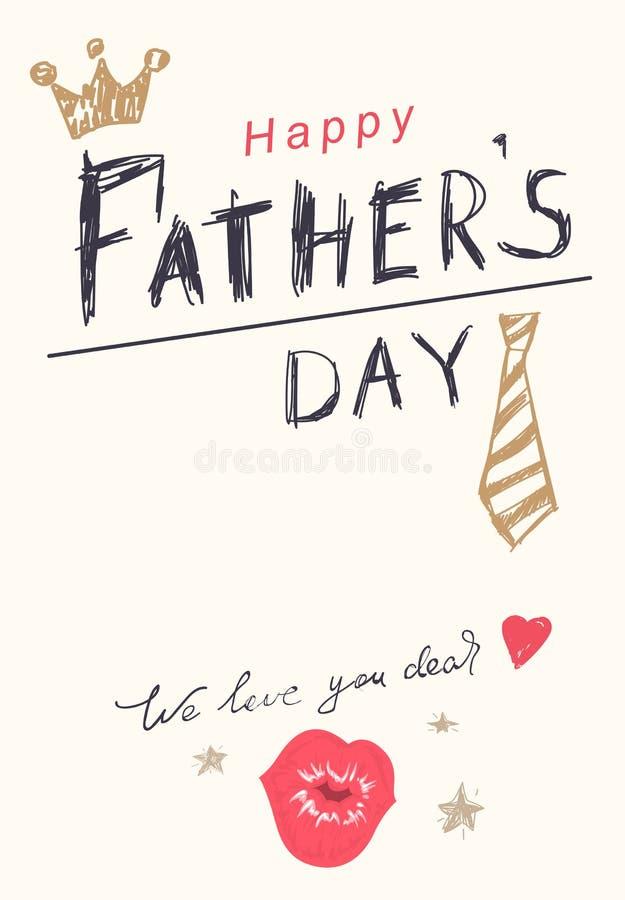 De gelukkige kaart van de de tekstgroet van de Vadersdag Kroon, band, hart en kus vector illustratie