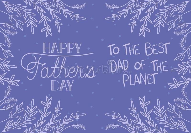 De gelukkige kaart van de vadersdag met doorbladert decoratie vector illustratie