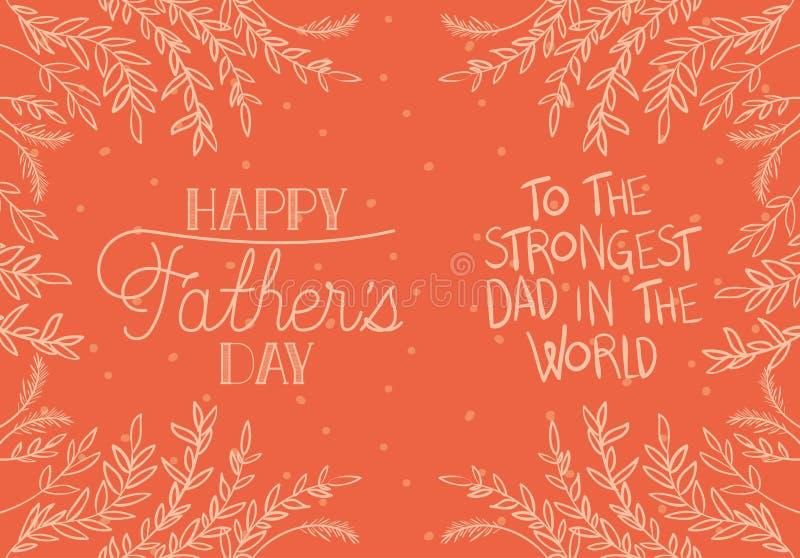 De gelukkige kaart van de vadersdag met doorbladert decoratie stock illustratie