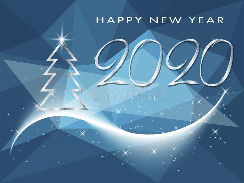 De gelukkige kaart van de de vakantiegroet van de Nieuwjaar 2020 winter met Kerstboom vector illustratie