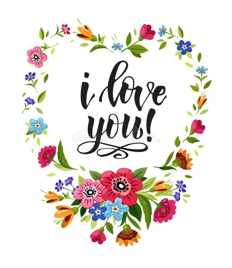 De gelukkige kaart van de valentijnskaartendag Elegante het van letters voorzien I Liefde u in bloemenkader Vectorhartkader Sluit stock illustratie