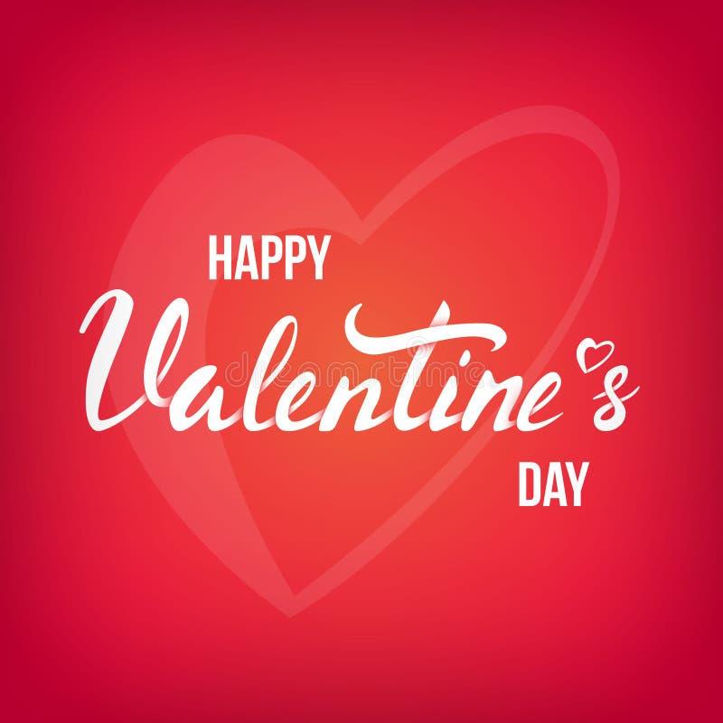 De gelukkige kaart van de Valentijnskaartendag met het van letters voorzien royalty-vrije illustratie