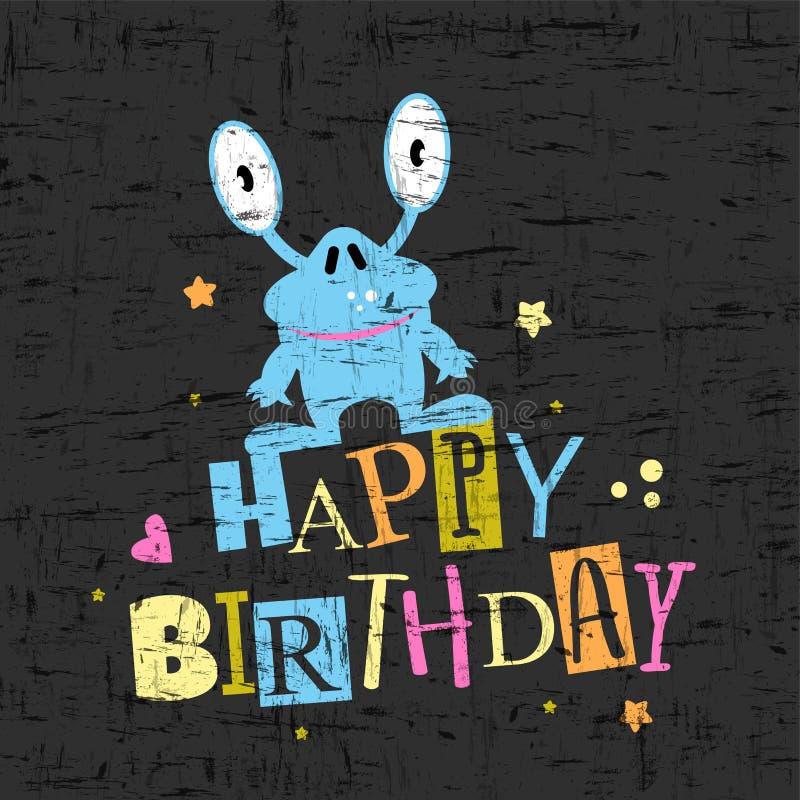 De gelukkige kaart van de verjaardagsgift met leuk monster stock illustratie