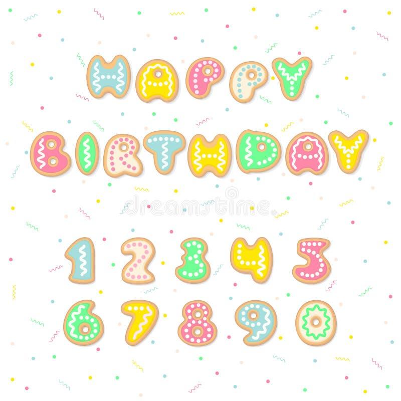 De gelukkige kaart van de Verjaardagsgroet met de brieven die van beeldverhaalkoekjes de woorden en de editable aantallen vormen vector illustratie