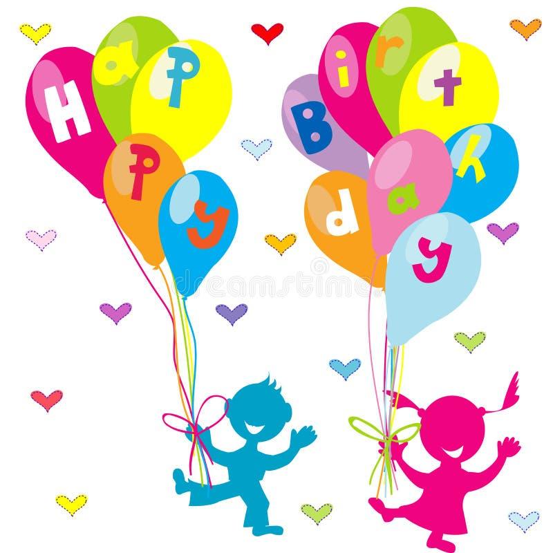 De gelukkige kaart van de verjaardagsgroet met kinderen en ballons royalty-vrije illustratie
