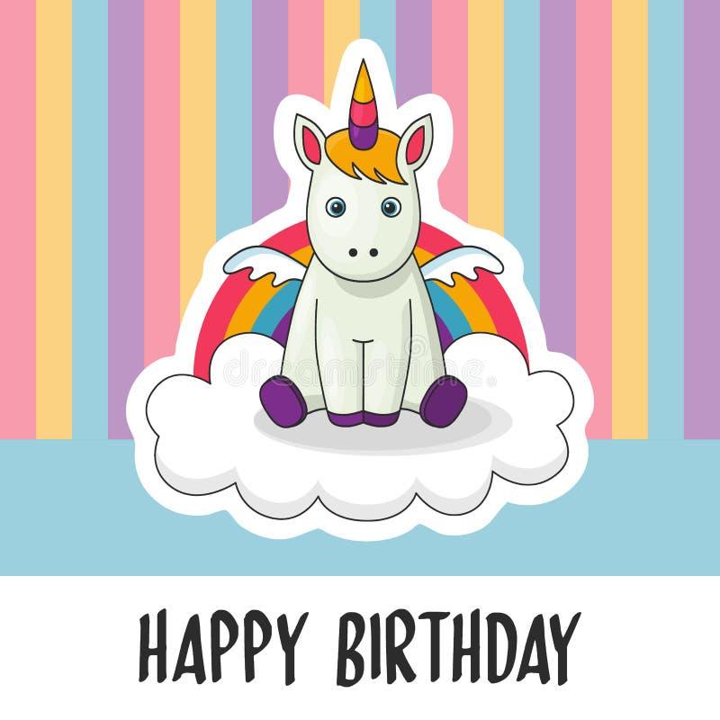 De gelukkige kaart van de Verjaardagsgroet met leuke babyeenhoorn met regenboog en wolkenachtergrond vector illustratie