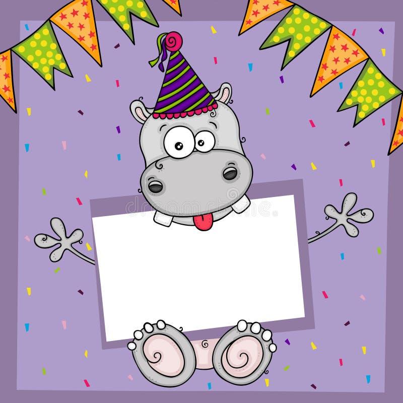 De gelukkige kaart van de verjaardagsgroet met leuke hippo en leeg etiket royalty-vrije illustratie
