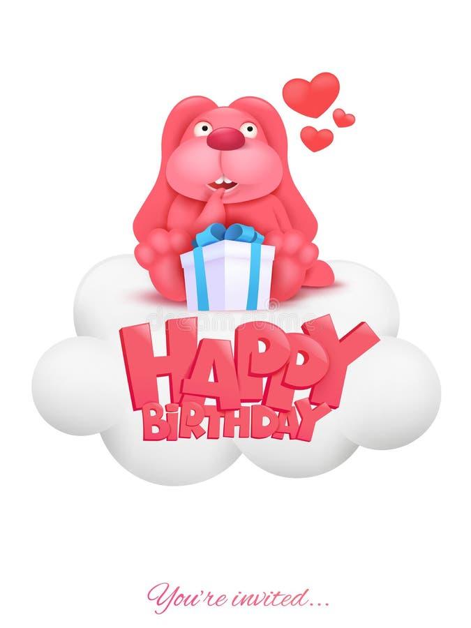 De gelukkige kaart van de Verjaardagsuitnodiging met roze het karakterzitting van het beeldverhaalkonijntje op wolk vector illustratie