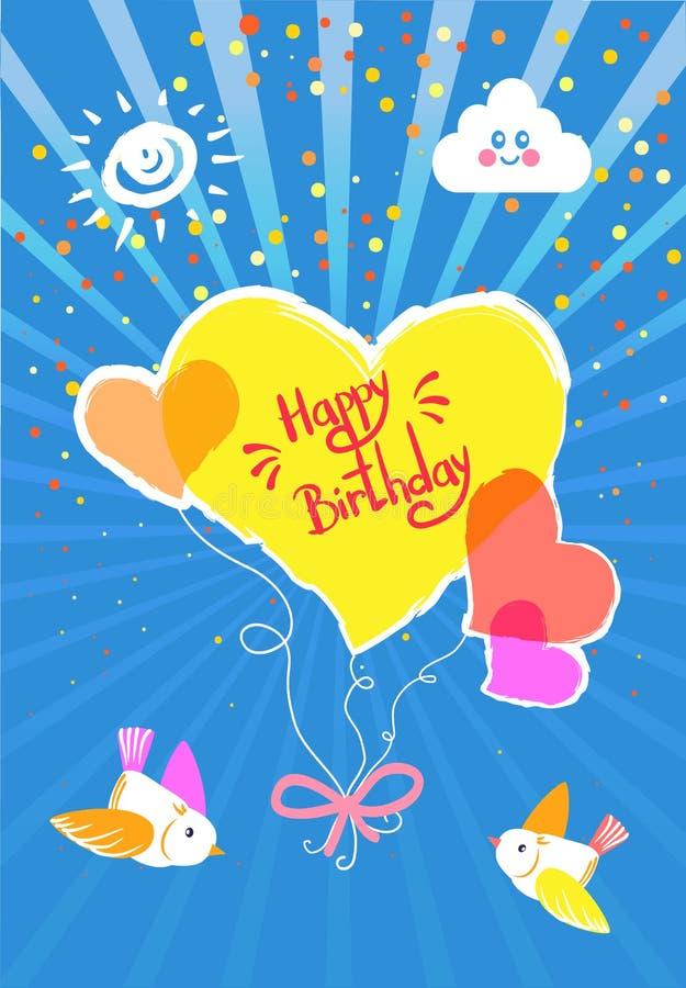 De gelukkige Kaart van de Verjaardagsvakantie, Vriendelijke groetenwensen vector illustratie