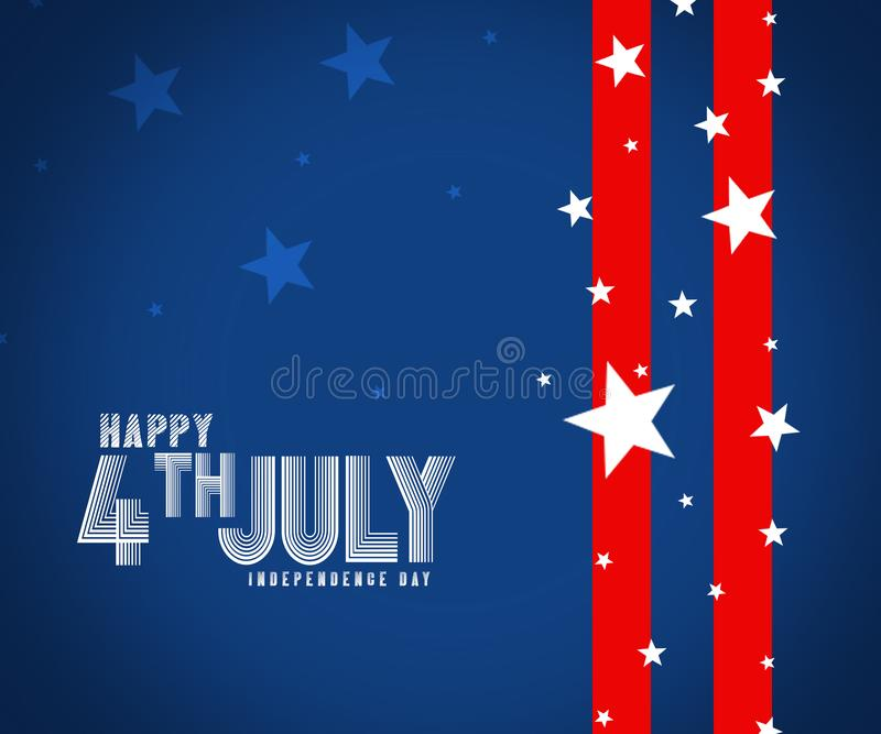 De gelukkige kaart de Verenigde Staten van Amerika van de onafhankelijkheidsdag Amerikaans Vlagdocument ontwerp, illustratie stock illustratie
