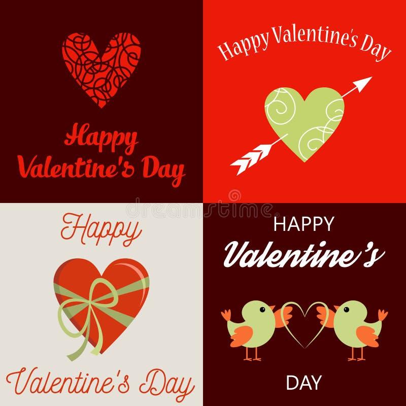 De gelukkige Kaarten van de Dag van Valentijnskaarten royalty-vrije illustratie