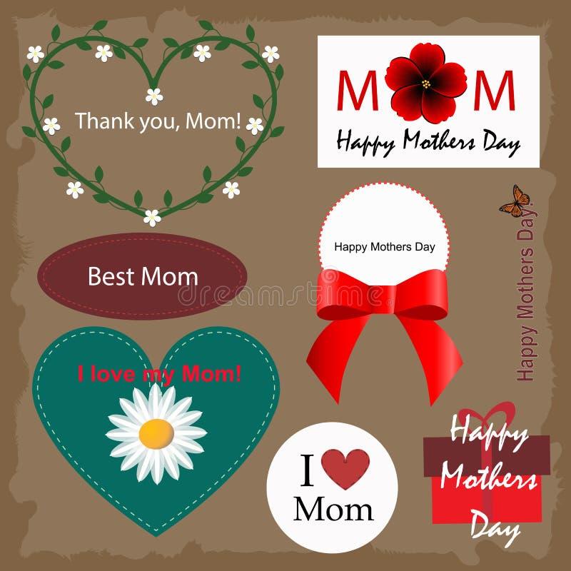 De gelukkige kaarten van de moedersdag stock illustratie