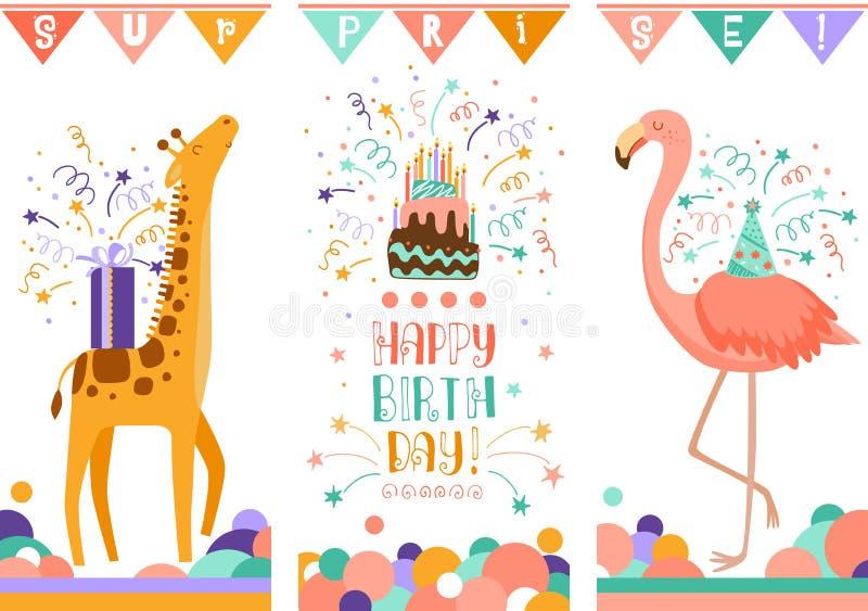 De gelukkige kaarten van de verjaardagsgroet Vectorillustratie van krabbel de leuke dieren stock illustratie