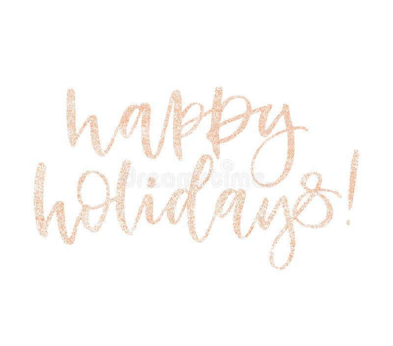 De gelukkige kalligrafie van de de groetkaart van vakantiekerstmis schittert roze toenam gouden tekst De met de hand geschreven d stock illustratie