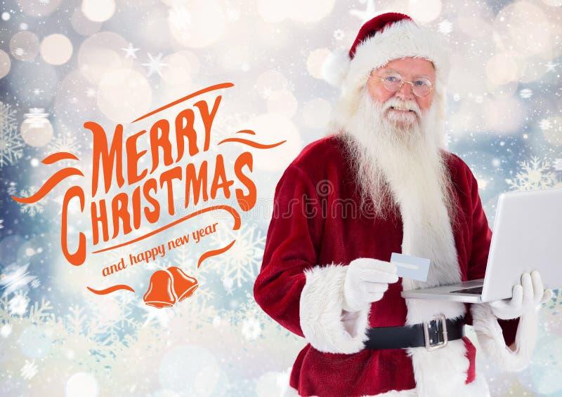 De gelukkige Kerstman die online het winkelen van laptop doen royalty-vrije stock afbeelding