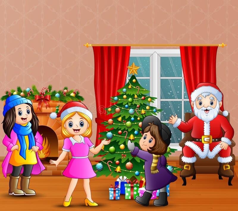 De gelukkige Kerstman met meisje drie die een Kerstboom verfraaien vector illustratie