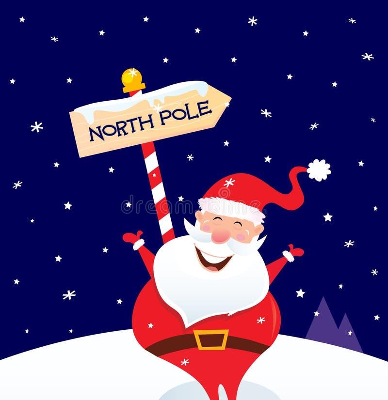 De gelukkige Kerstman van Kerstmis met de pool van het Noorden ondertekent royalty-vrije illustratie