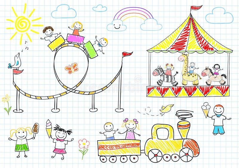 De gelukkige kinderen berijden op de carrousel stock illustratie
