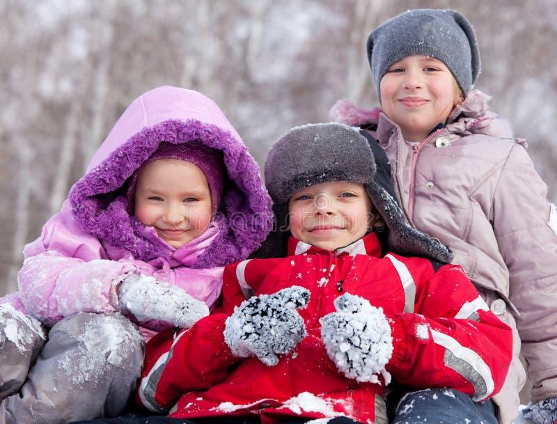 De gelukkige kinderen in de winter parkeren royalty-vrije stock afbeeldingen