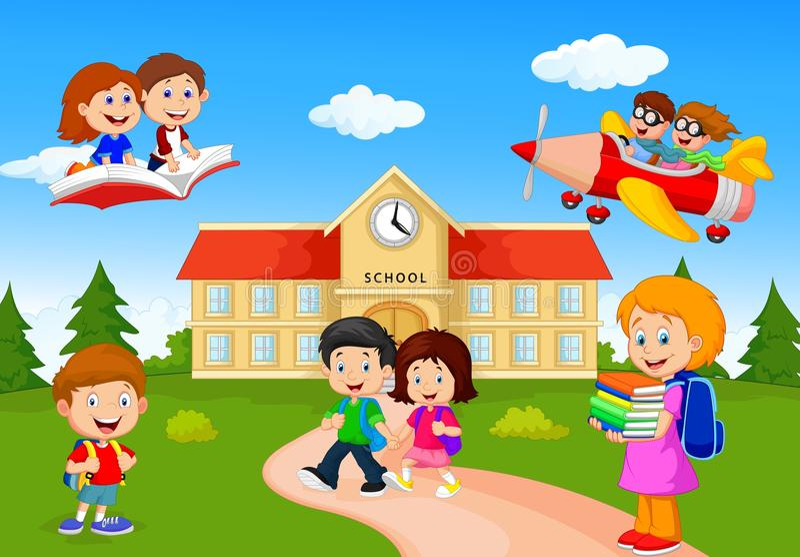 De gelukkige kinderen van de beeldverhaalschool royalty-vrije illustratie